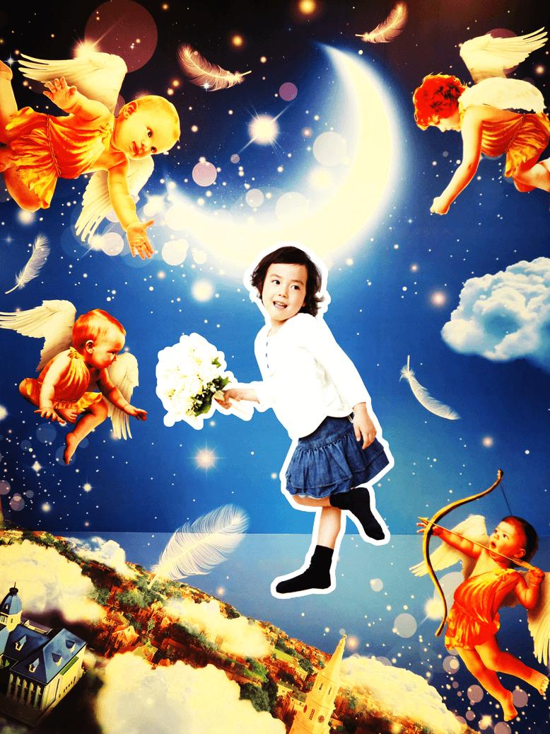 空をかける女の子 トリックアート